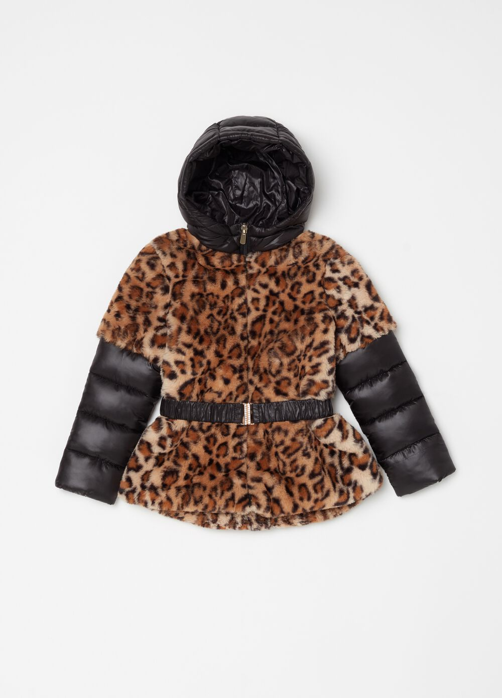 Down jacket with lining in faux fur