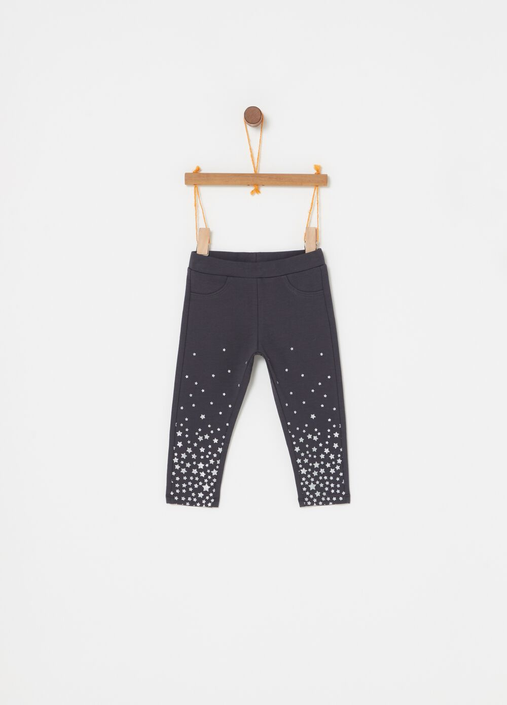 French terry trousers with glitter print