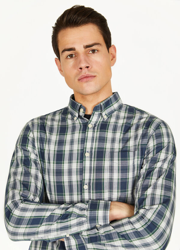 Casual button-down tartan shirt