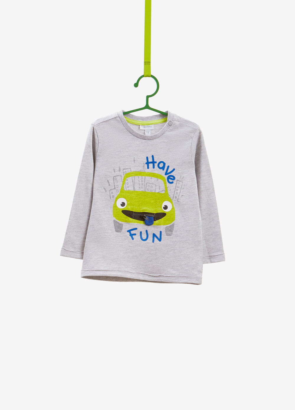 Mélange T-shirt with car and zip