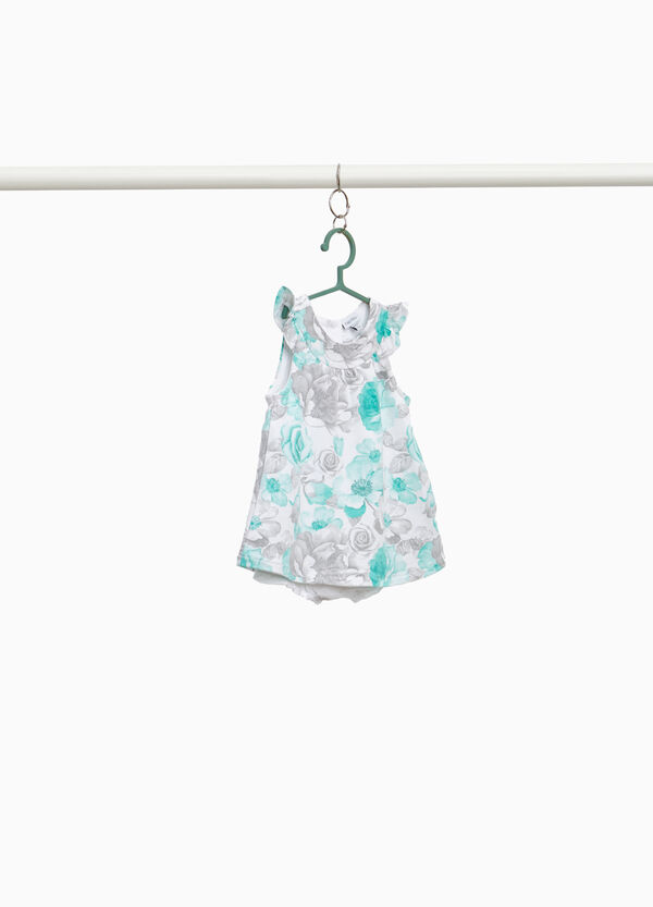 Stretch sleeveless floral romper suit