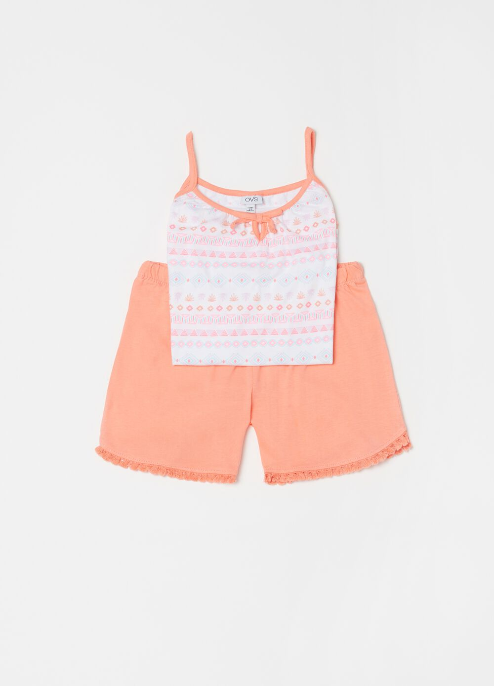 Pyjamas with patterned top and solid colour shorts