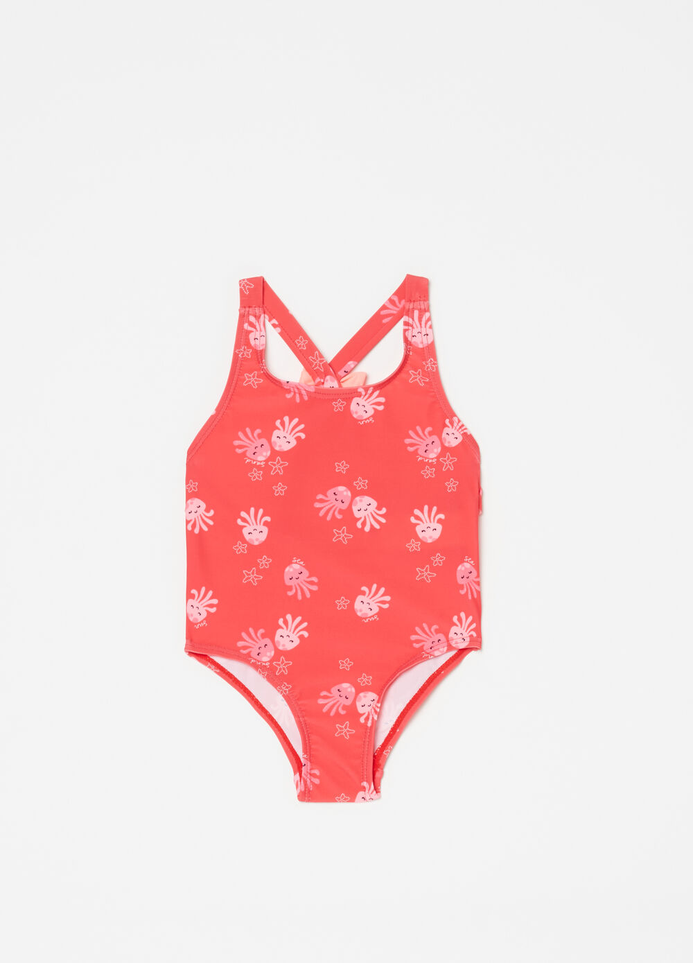 One-piece swimsuit with bow, frills and octopus
