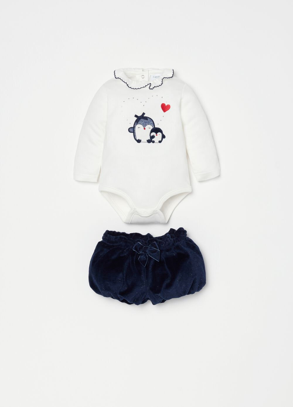 Set body e shorts con ricamo pinguino