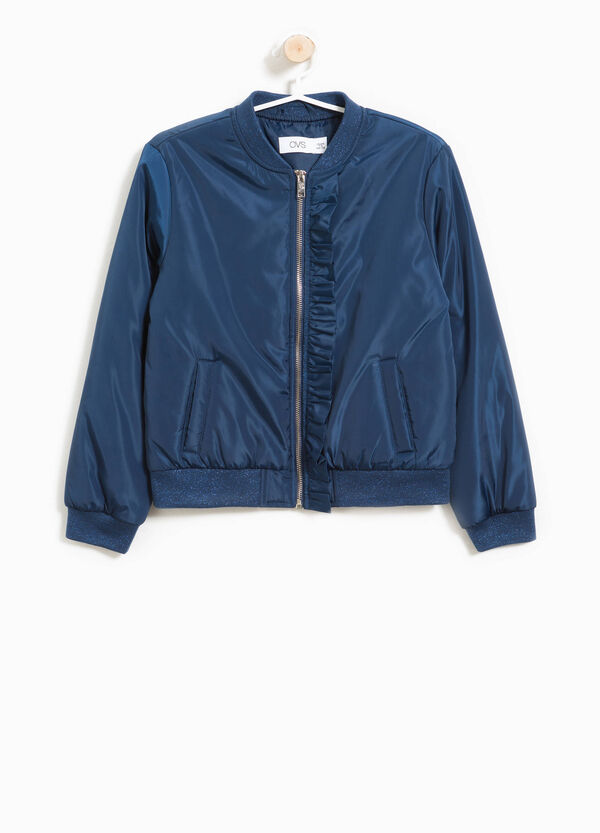 Bomber jacket with frills and glitter ribbing | OVS