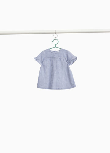 Striped cotton shirt with flounce