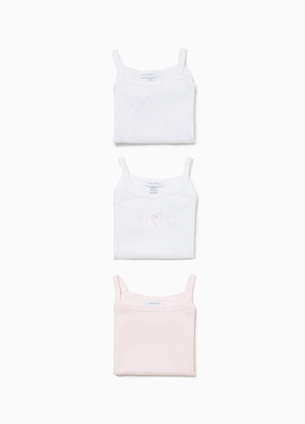 Three-pack solid colour and patterned sleeveless bodysuits