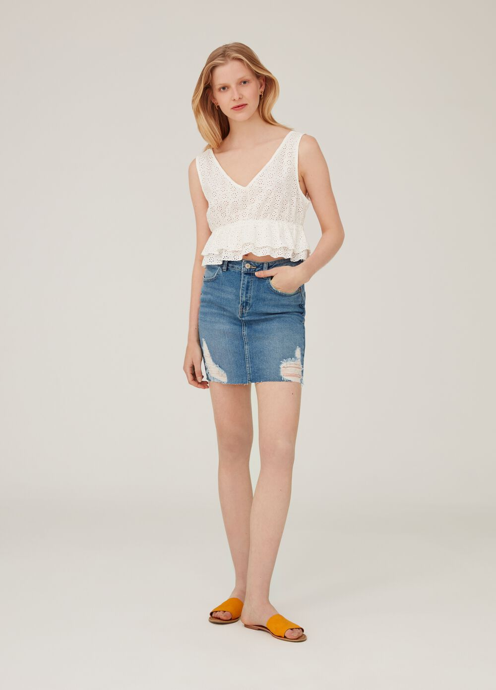 Stretch denim skirt with abrasions