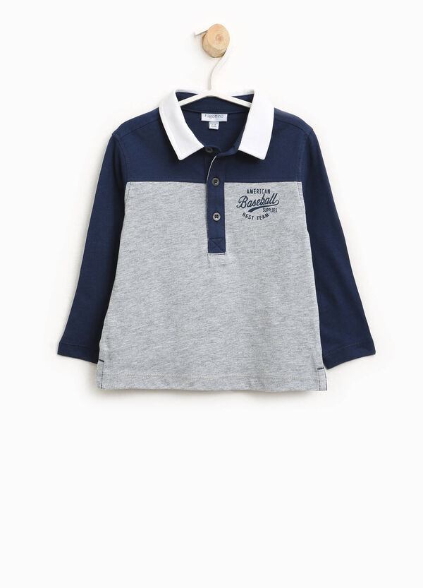 Two-tone cotton and viscose polo shirt with print | OVS