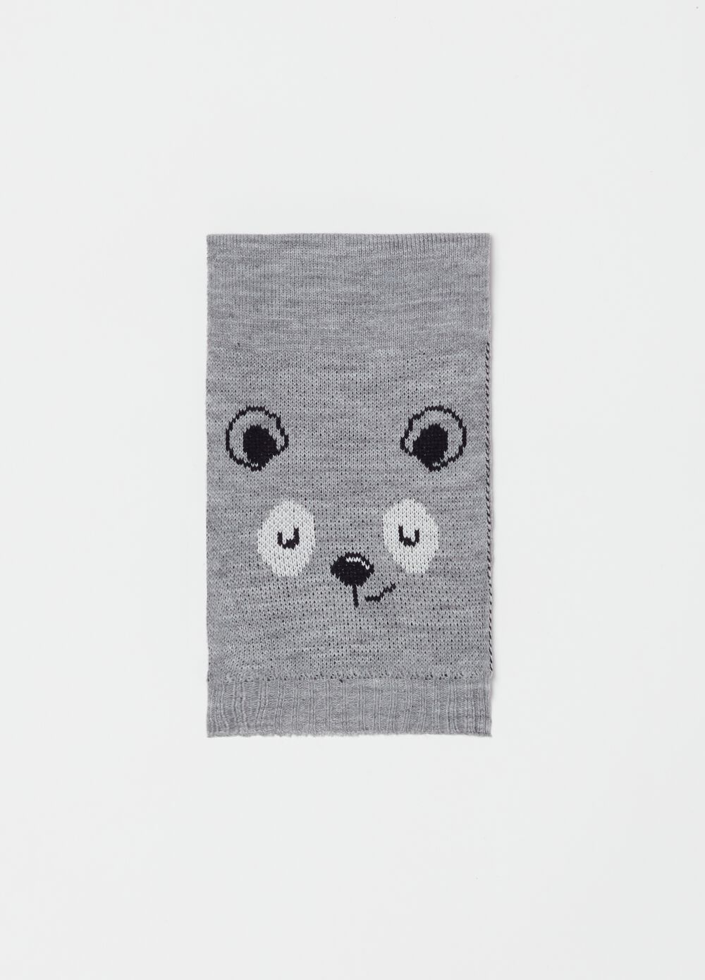 Knitted scarf with animal embroidery