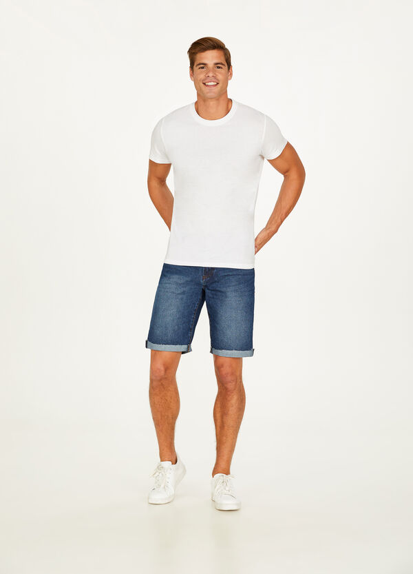 Denim Bermuda shorts with turn ups