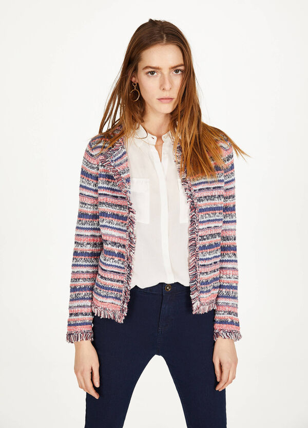 Knitted striped fringed blazer