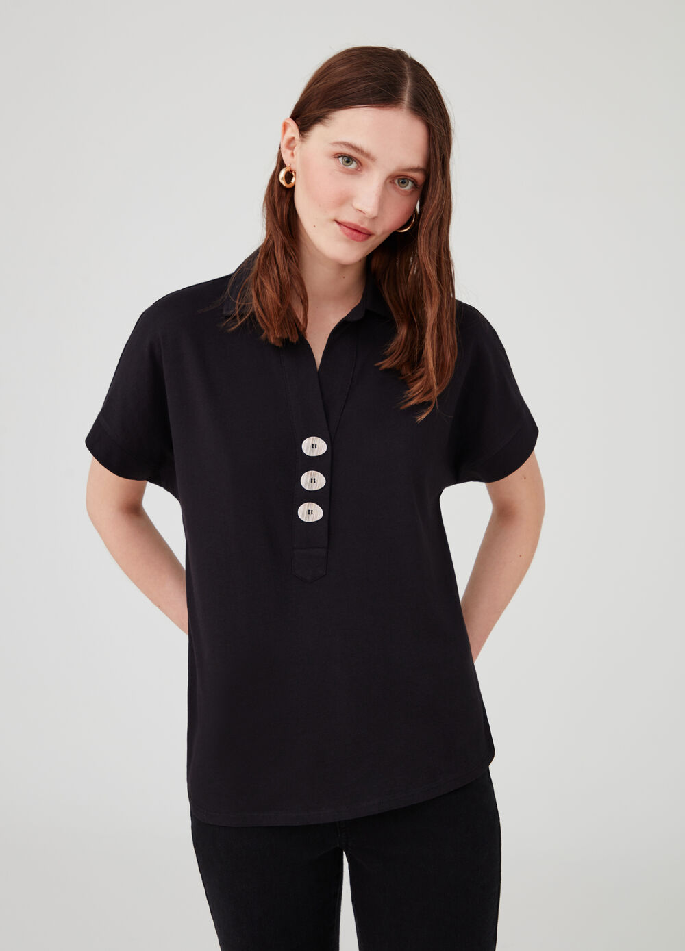 Cotton polo shirt with bluff collar