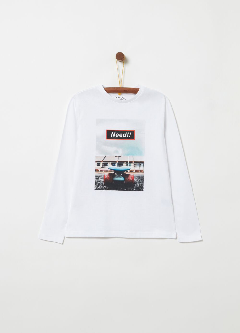 T-shirt with photographic print and long sleeves