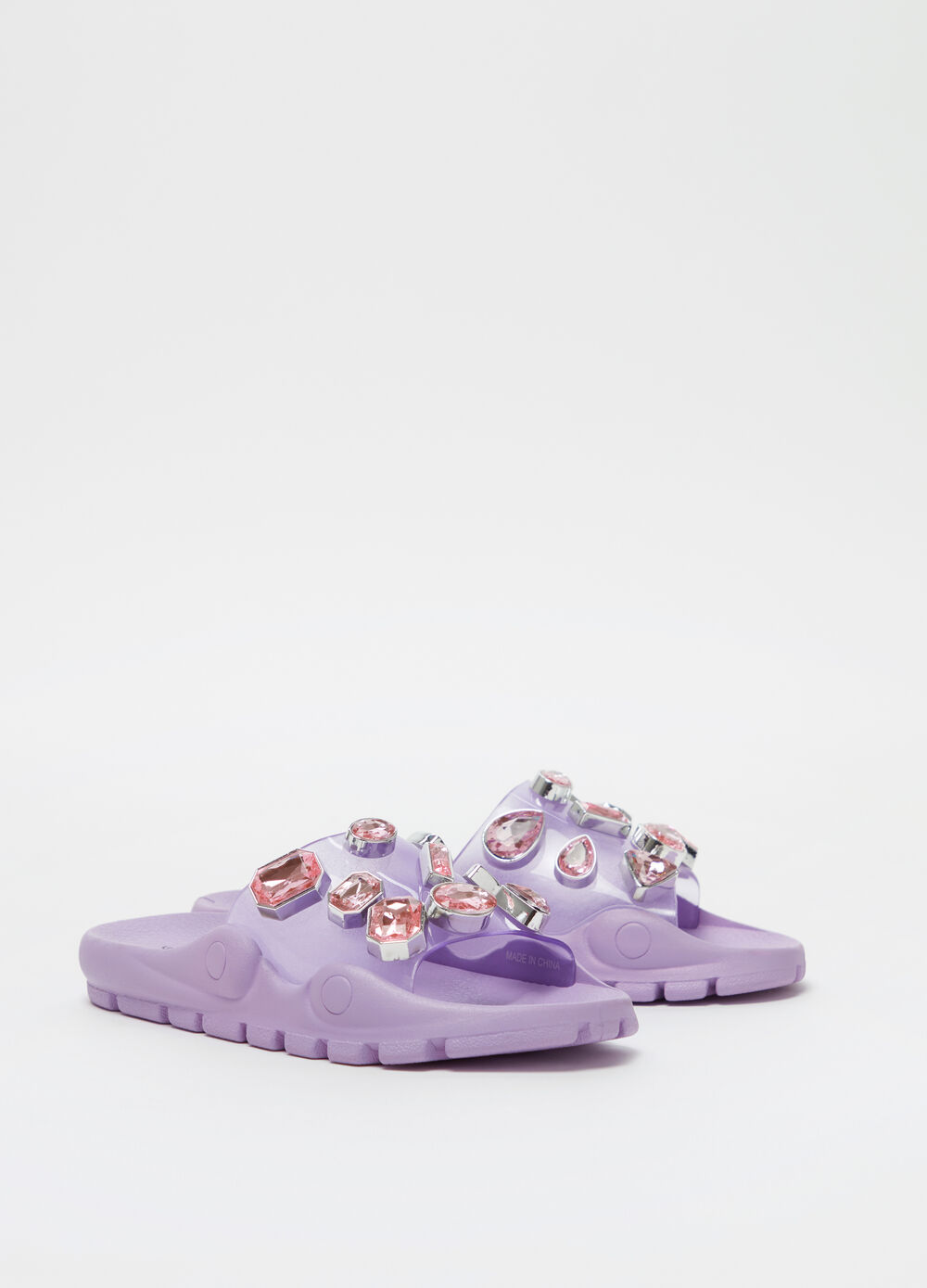 Solid colour slippers with diamantés and flat heel