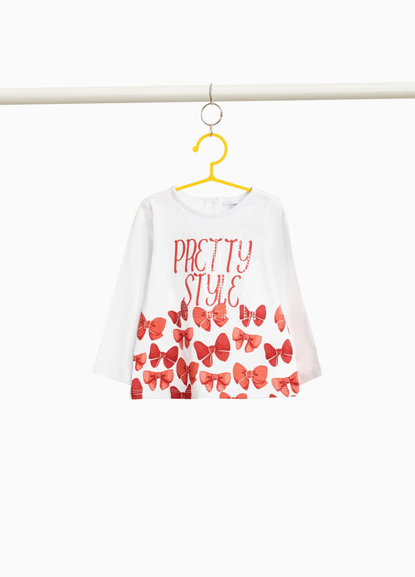 100% cotton T-shirt with bows print