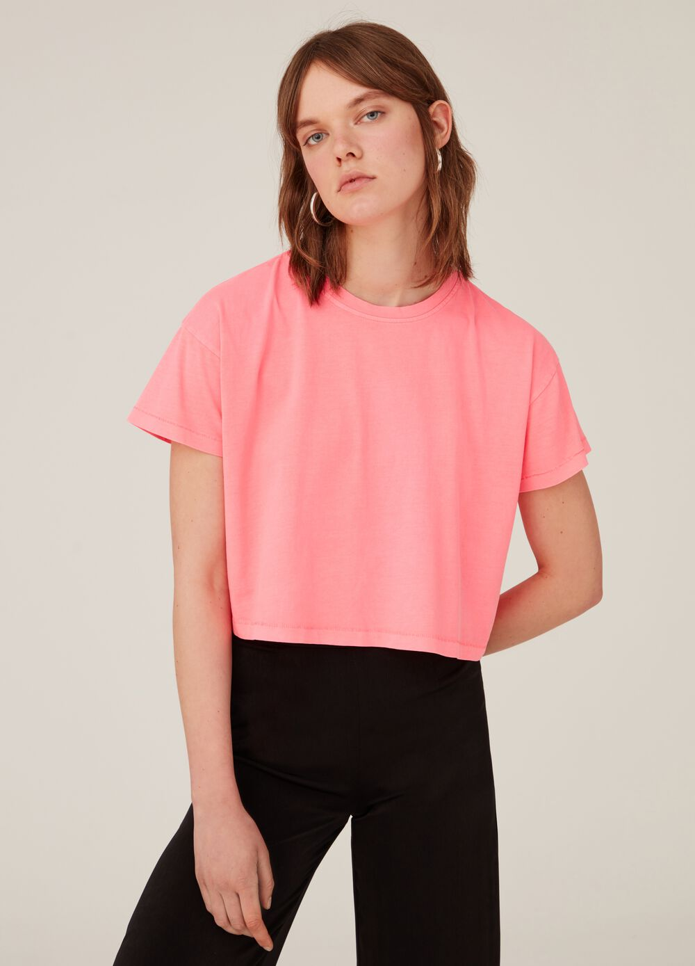 100% cotton misdyed-effect crop T-shirt