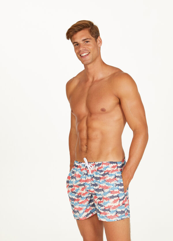 Shark patterned beach shorts