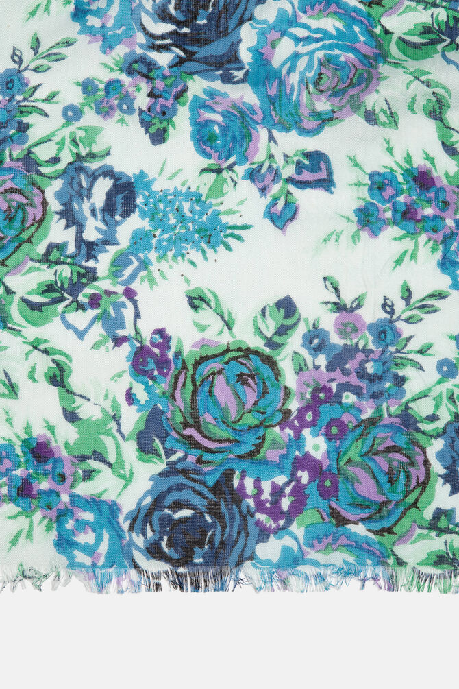 Floral print scarf in 100% viscose