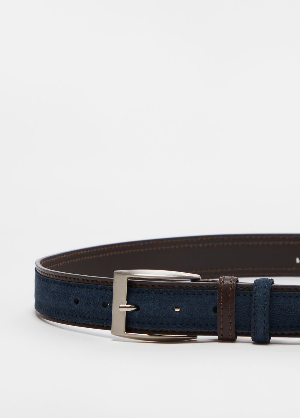 Suede belt with contrasting trim