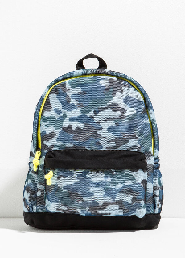 Camouflage backpack with openwork design