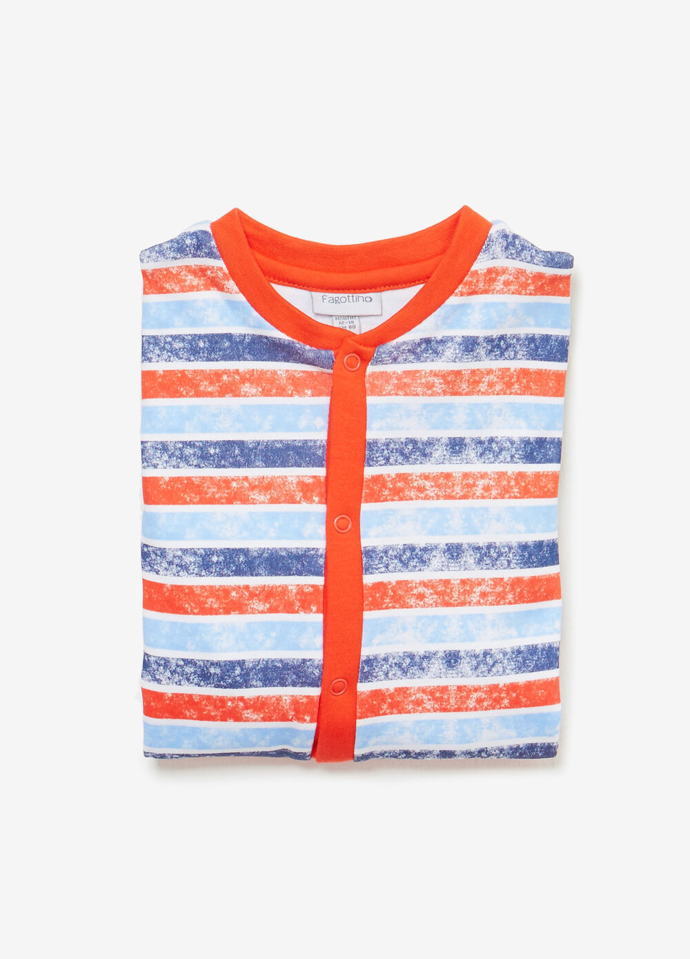 Mélange striped cotton sleepsuit