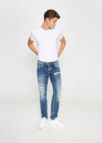 Ripped, straight-fit stretch jeans
