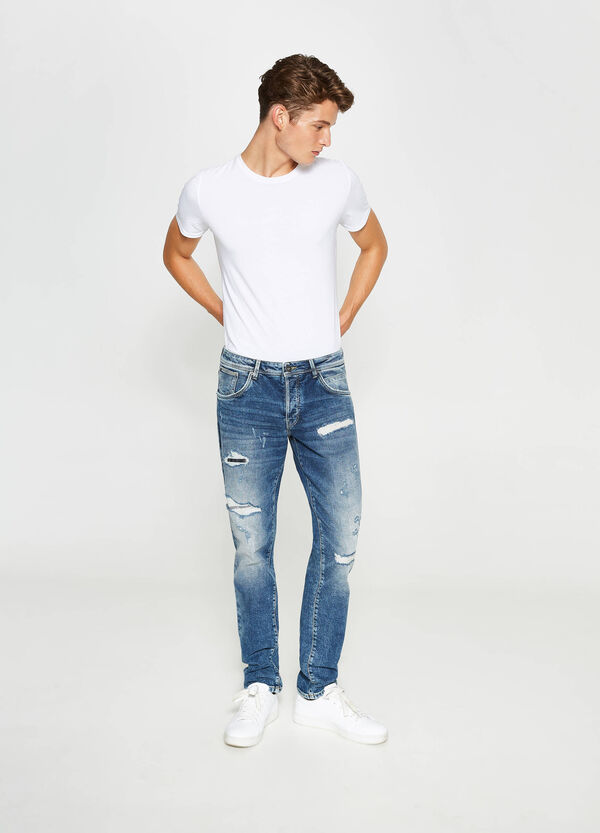 Ripped, straight-fit stretch jeans | OVS