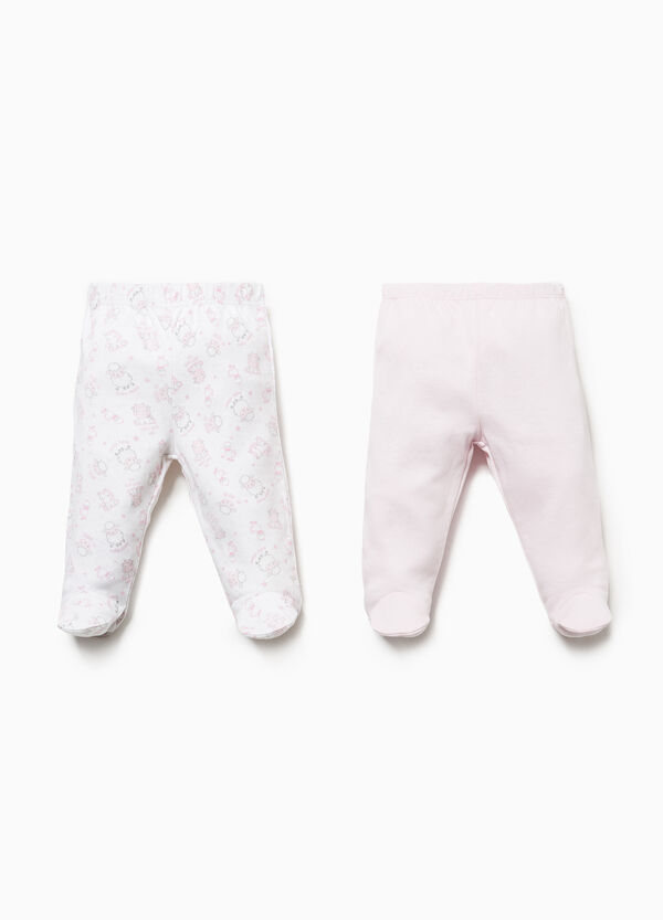 Two-pack baby leggings animals and solid colour