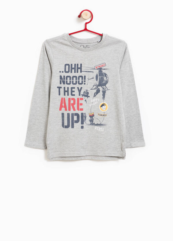 100% cotton T-shirt with printed crew neck | OVS