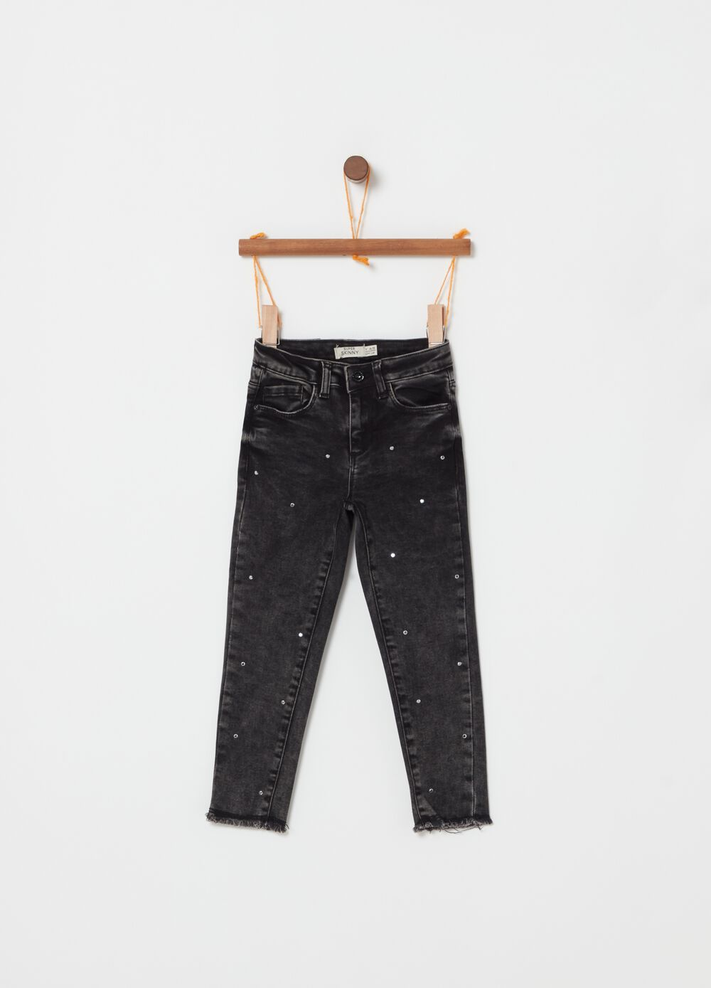 Stretch jeans with five pockets and diamantés