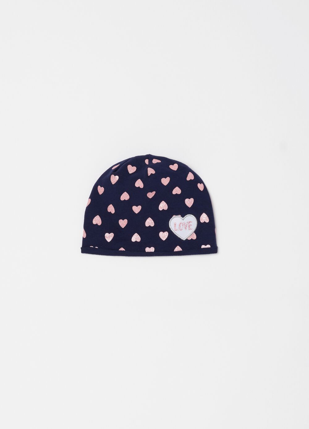 Hat with glitter heart pattern