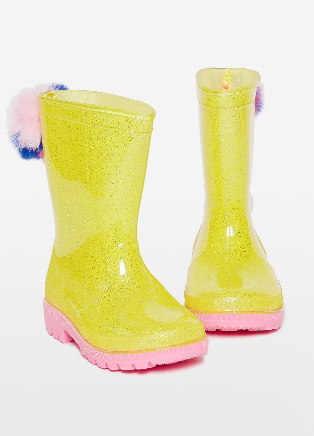 Glitter rain boots with pompoms