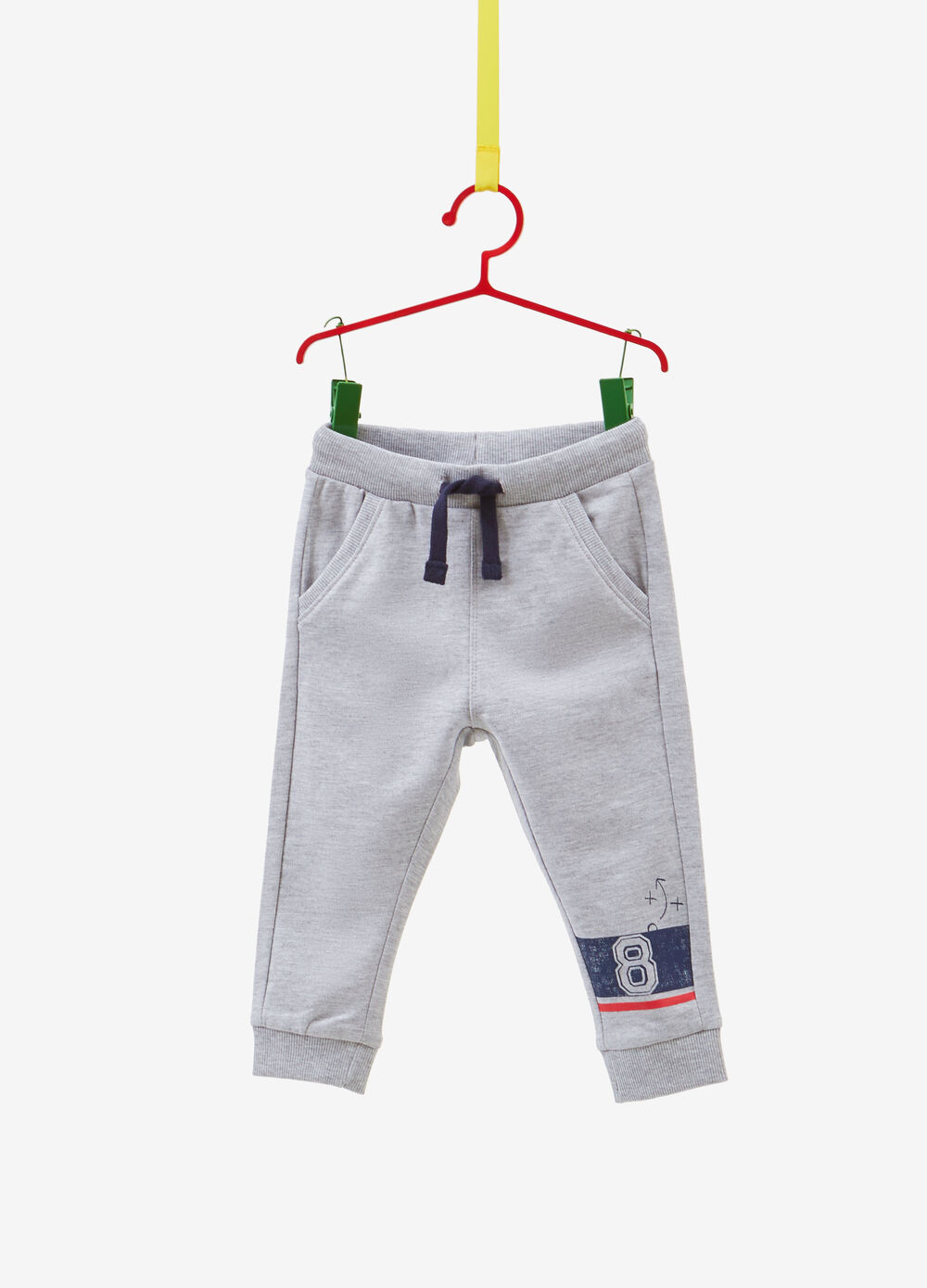 Cotton trousers with drawstring and print
