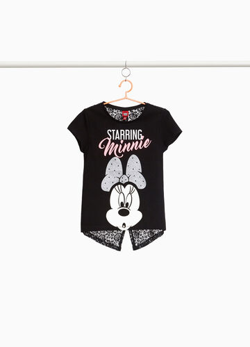 T-shirt with lace back and Minnie Mouse print
