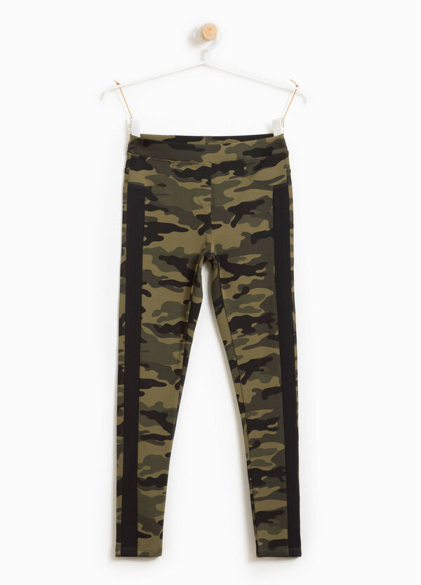 Camouflage patterned stretch leggings | OVS