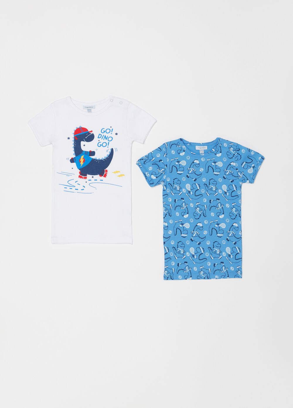 Two-pack 100% organic cotton T-shirts with dinosaurs