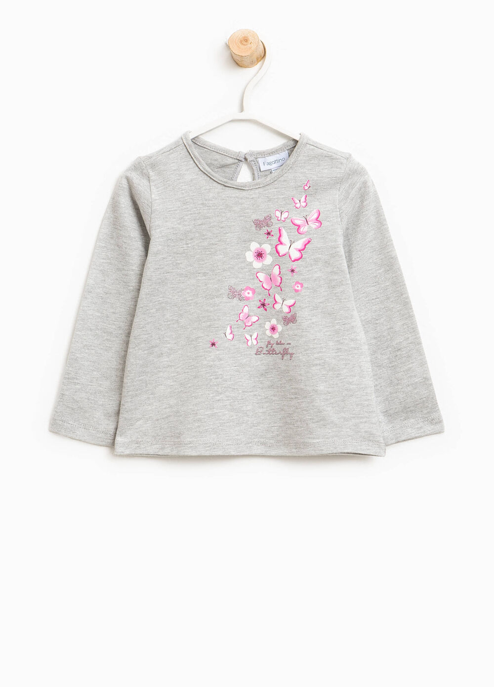 Cotton T-shirt with butterfly print