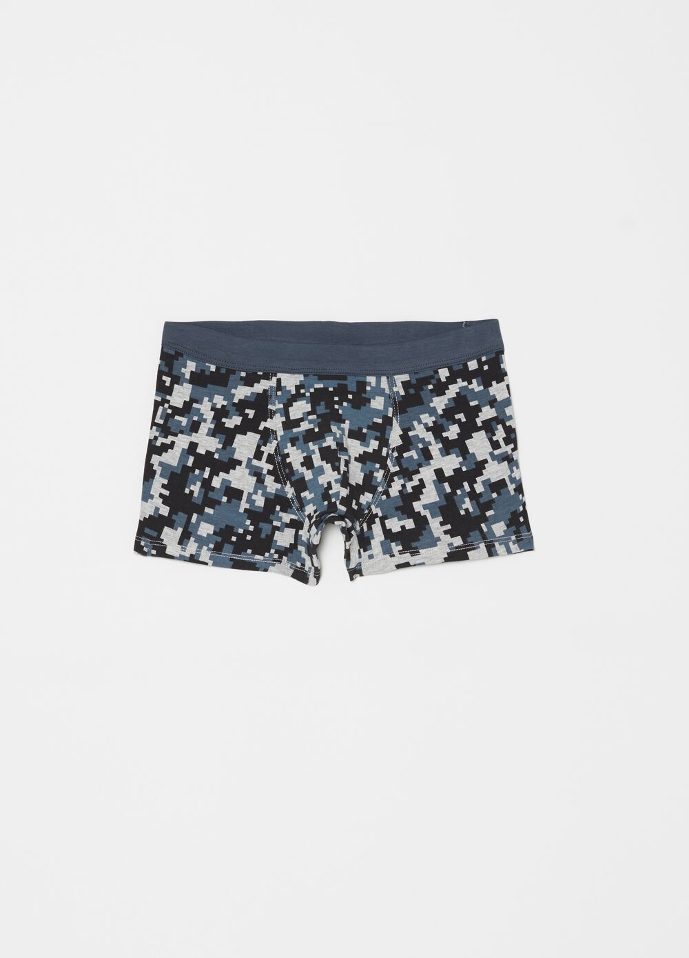 Stretch boxer shorts with geometric pattern