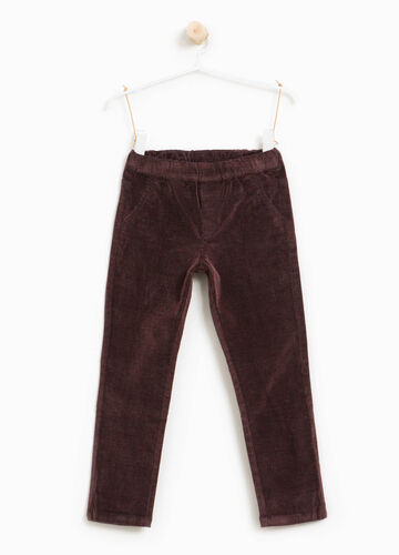 Stretch cotton and viscose trousers