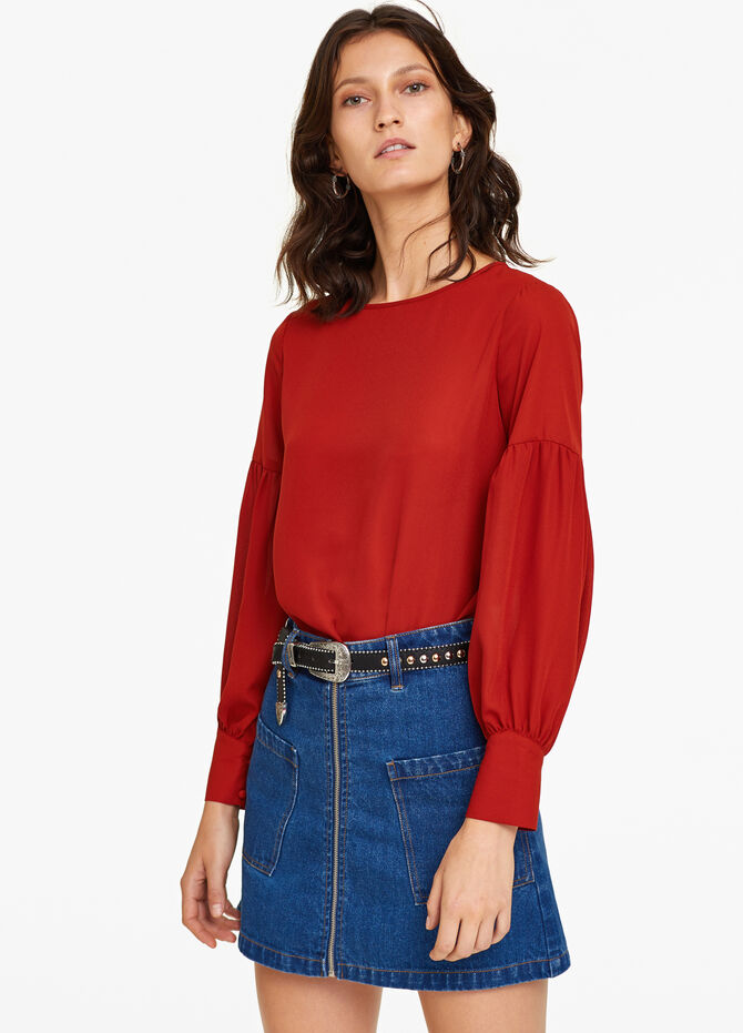 Blouse with laces and drop shoulder