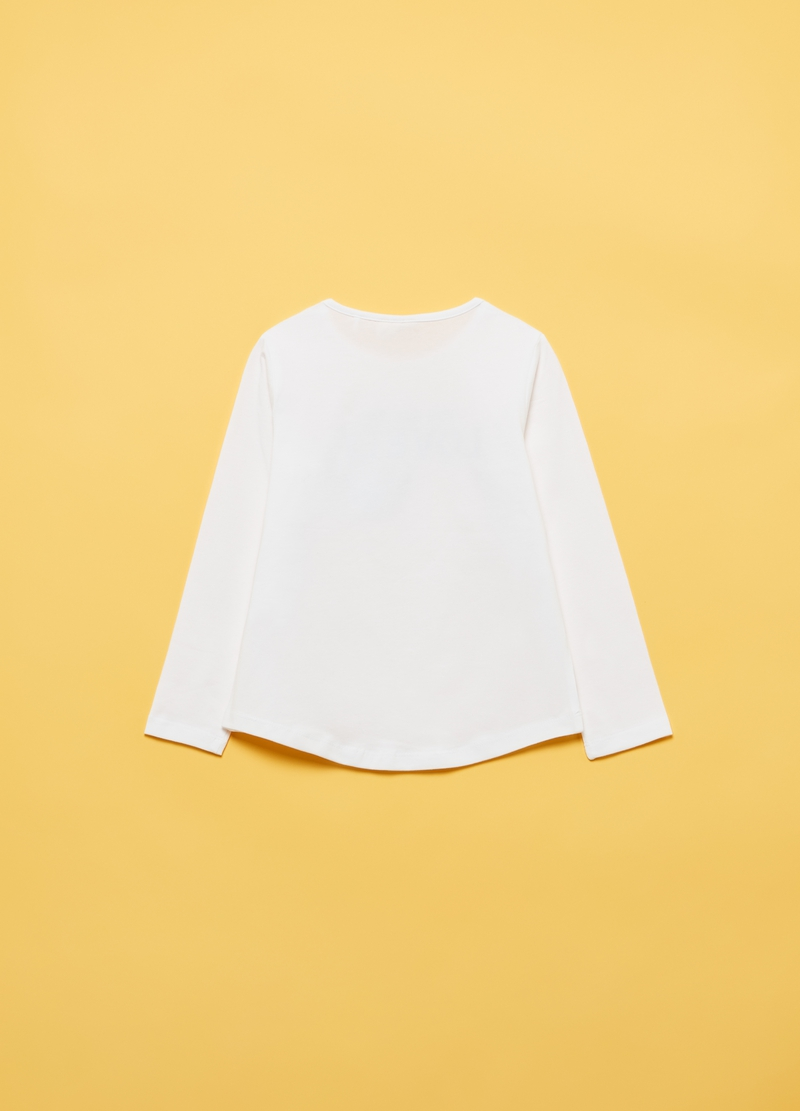 Stretch cotton T-shirt with butterfly image number null
