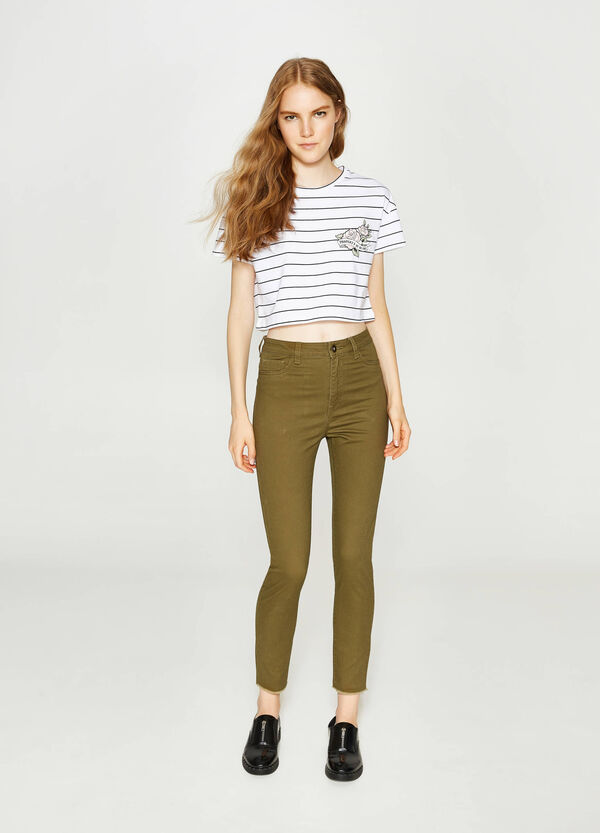 High-waisted trousers in stretch cotton | OVS