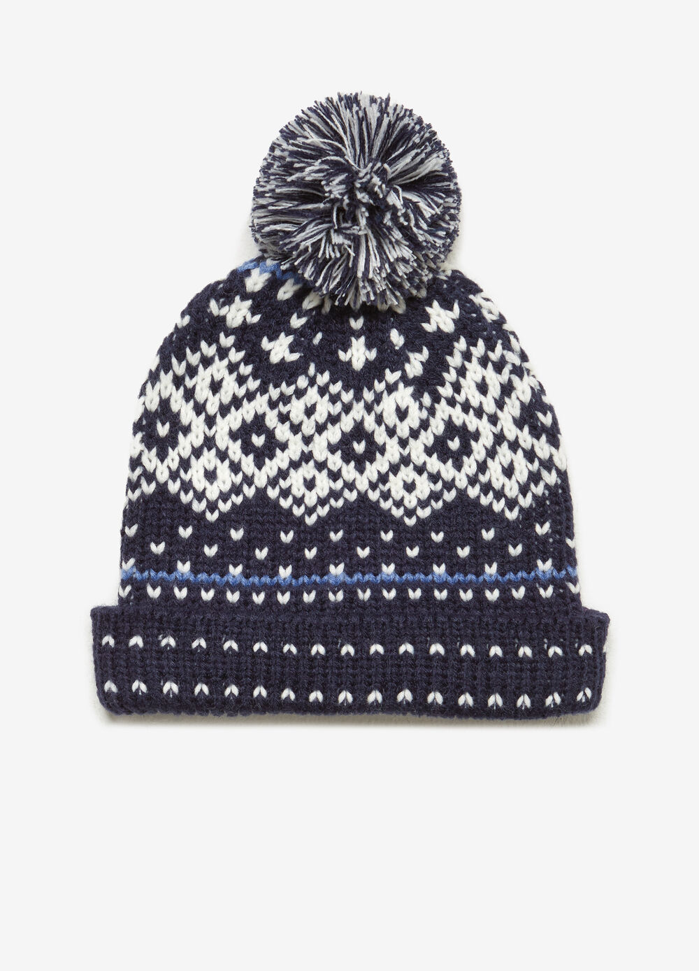 Patterned beanie cap with pompoms