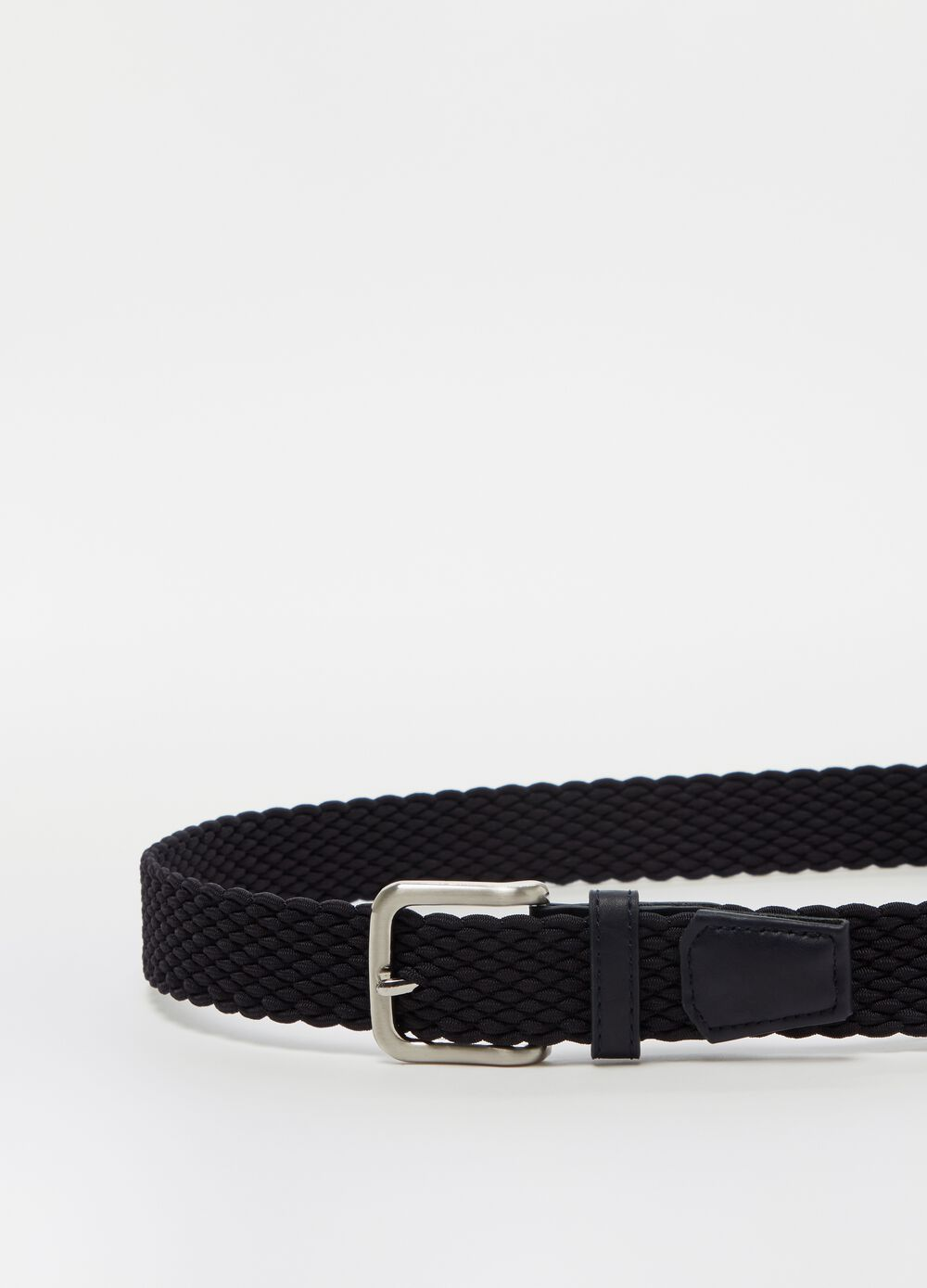 Braided weave belt with metal buckle