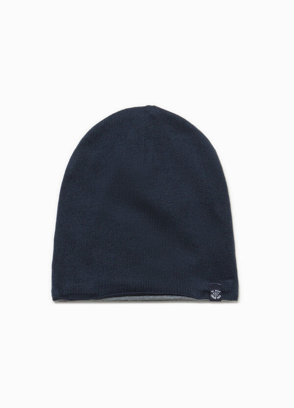 Knitted beanie cap with patches | OVS