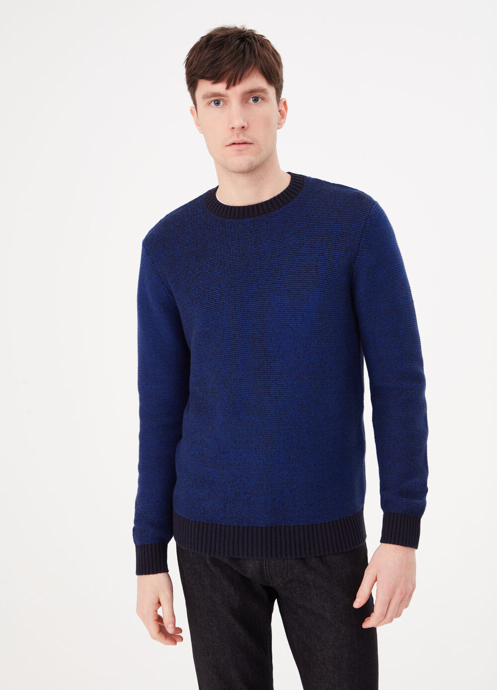 100% cotton pullover with contrasting ribbing