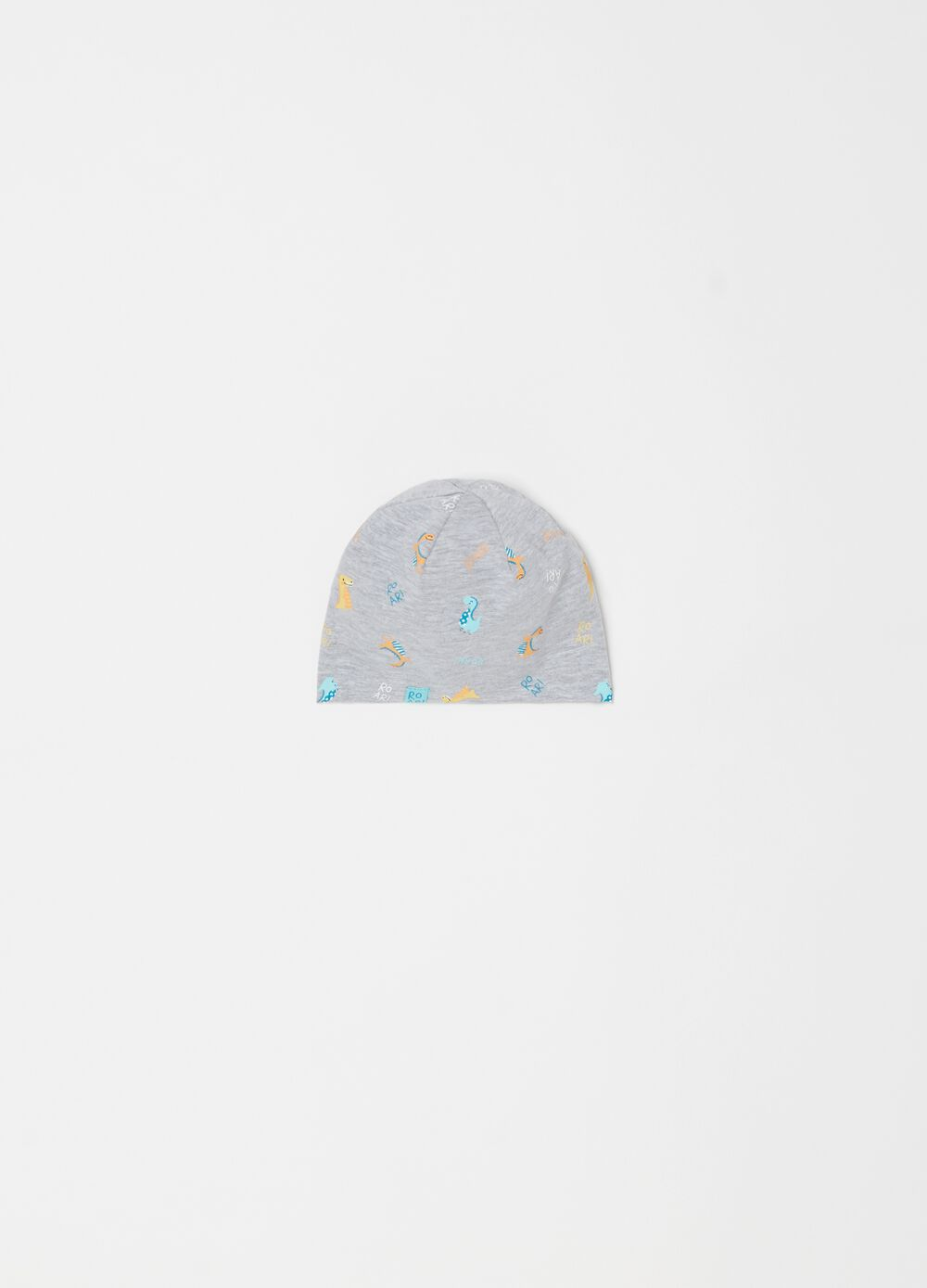 Stretch cotton hat with dinosaurs print