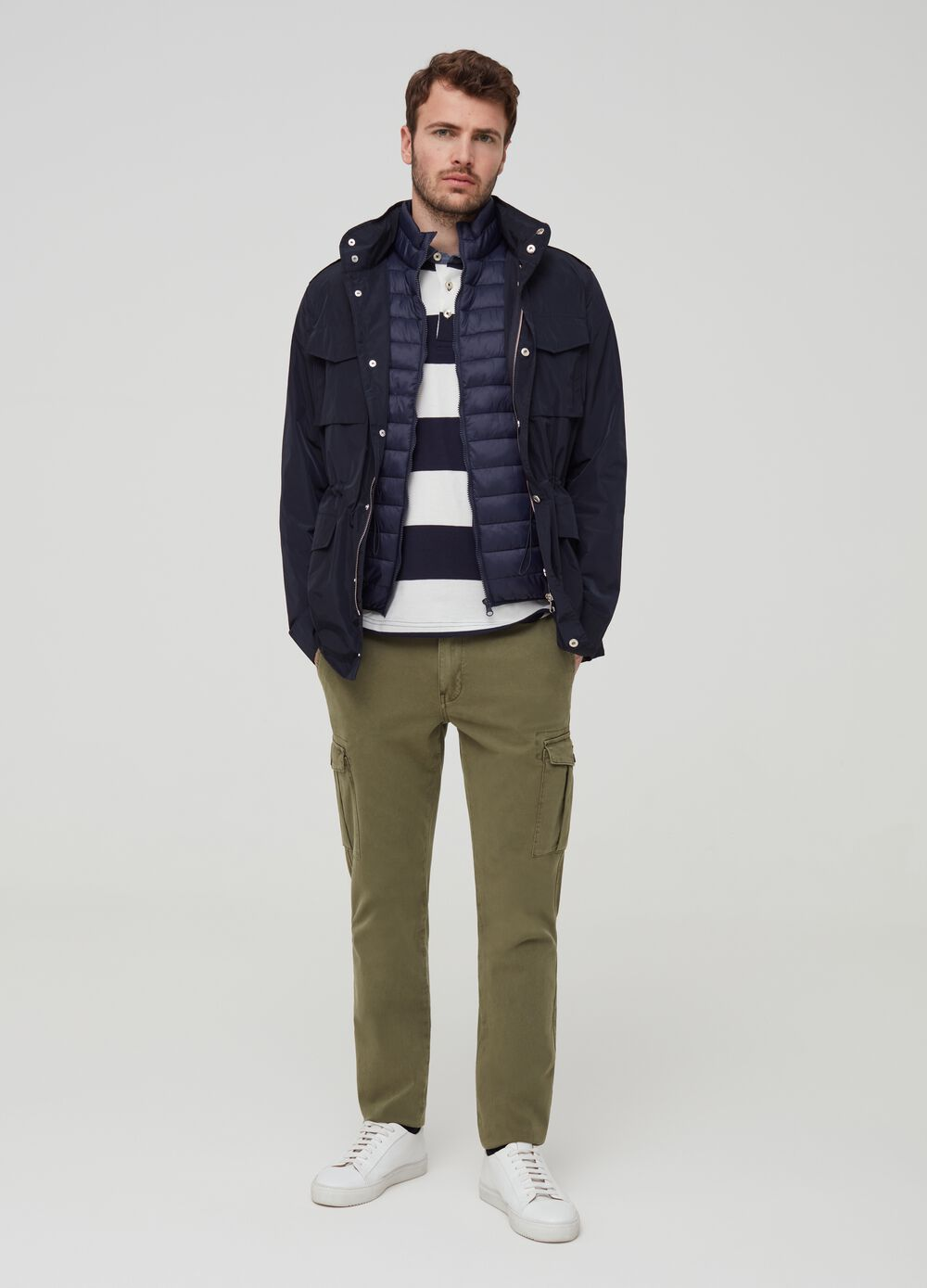 Jacket with high neck and pockets