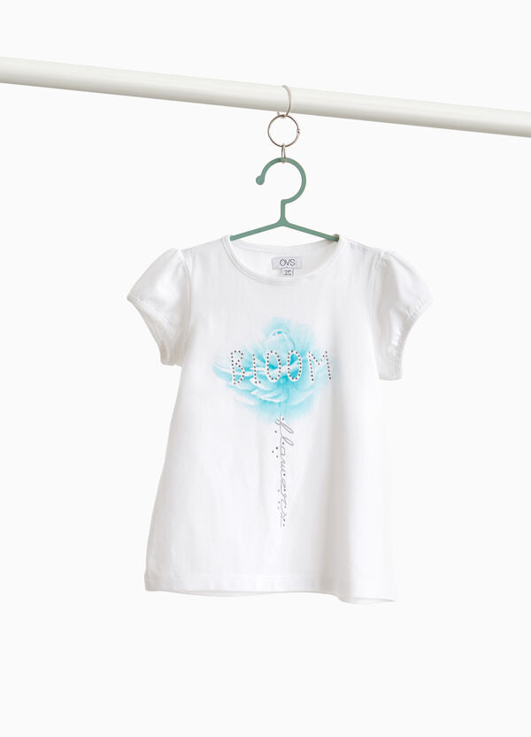 Stretch cotton T-shirt with print and rhinestones